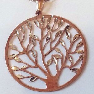 Mia Fiore Sterling Silver Rose Gold Tree Necklace